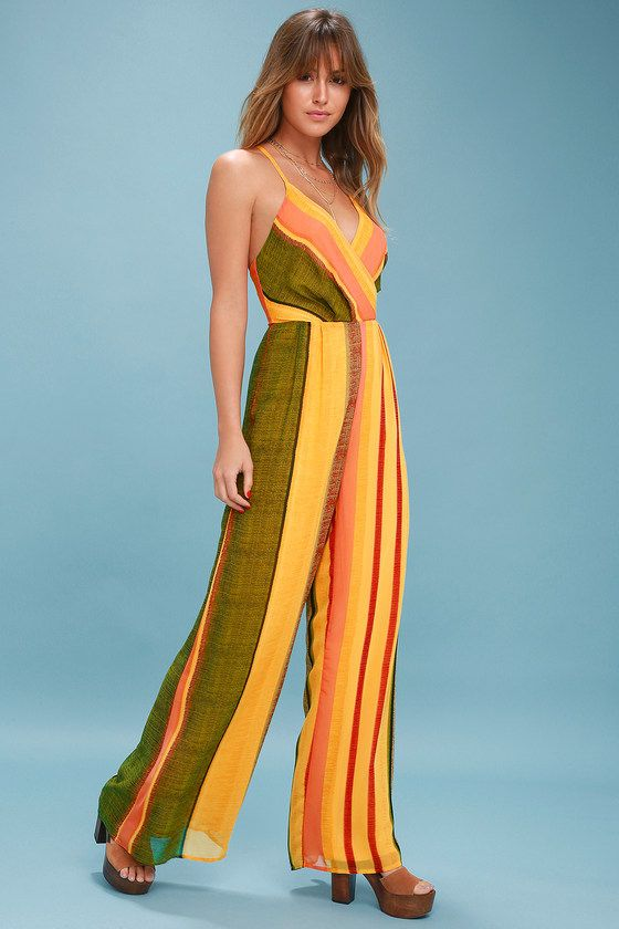 34a72daa733db8 Show off your sunny disposition in the Beach Club Golden Yellow Striped  Wide-Leg Jumpsuit! Lovely chiffon wide-leg jumpsuit in a striped pattern.