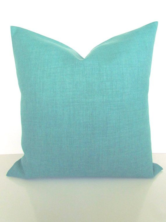 Turquoise Pillows Solid Turquoise Mint Outdoor Throw Pillow Covers