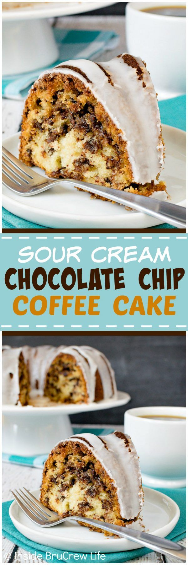Sour Cream Chocolate Chip Coffee Cake - this coffee cake has a swirl cinnamon sugar inside and a sweet glaze on top. It's the perfect recipe for breakfast or brunch! ~ Inside BruCrew Life