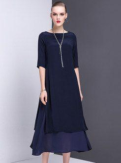 Elegant Pure Color Mermaid Maxi Dress