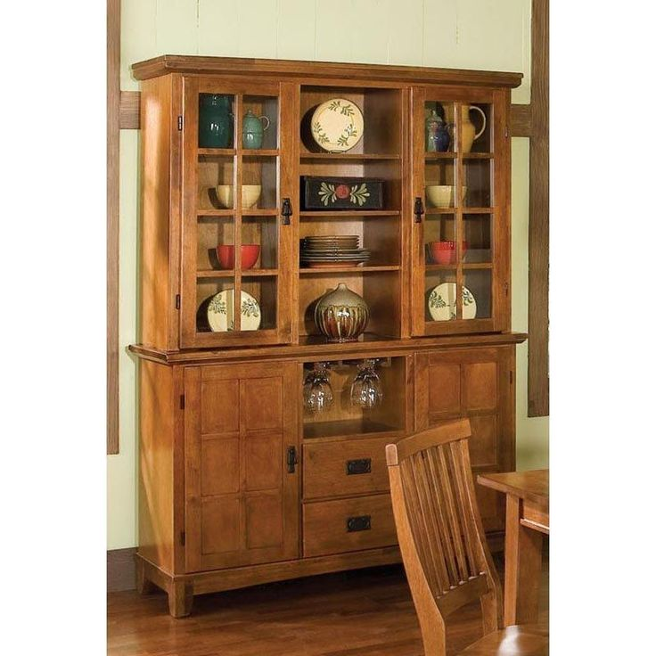 China Buffet Rustic Kitchen Cabinets Hutch Oak Kitchen Dining Room Storage Den #HomeStyles #Cottage