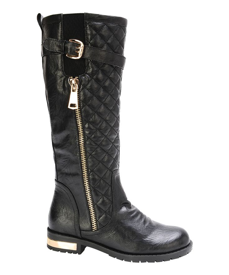 Black Quilted Gold Coast Boot