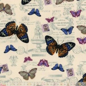 Linen Look Cotton Vintage Butterflies & Stamps