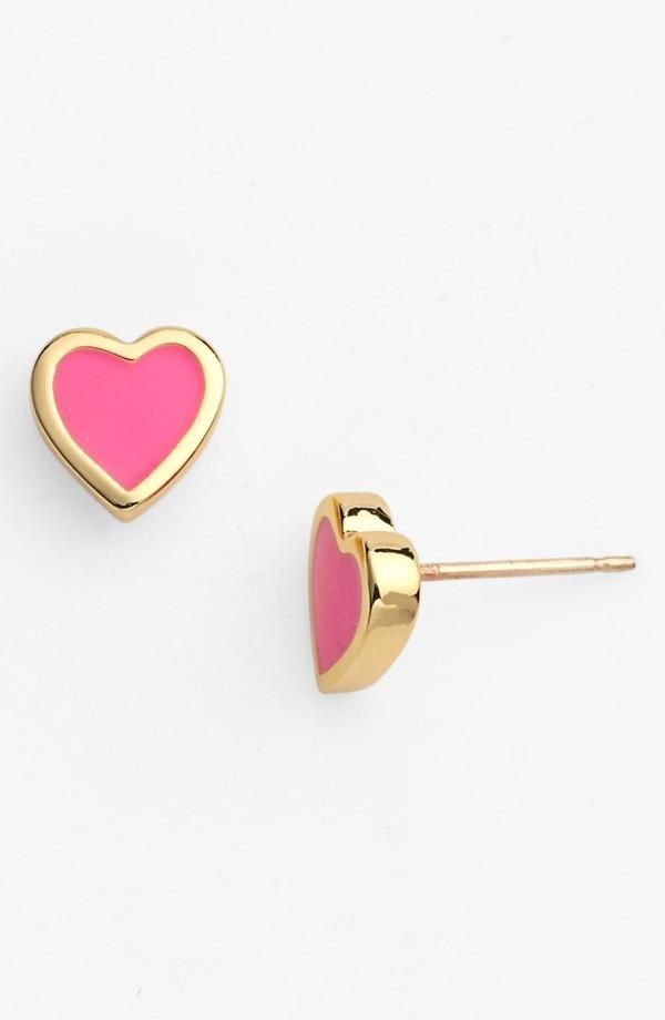 Cute! Pink heart earrings by Kate Spade. Great Valentine's Day gift.