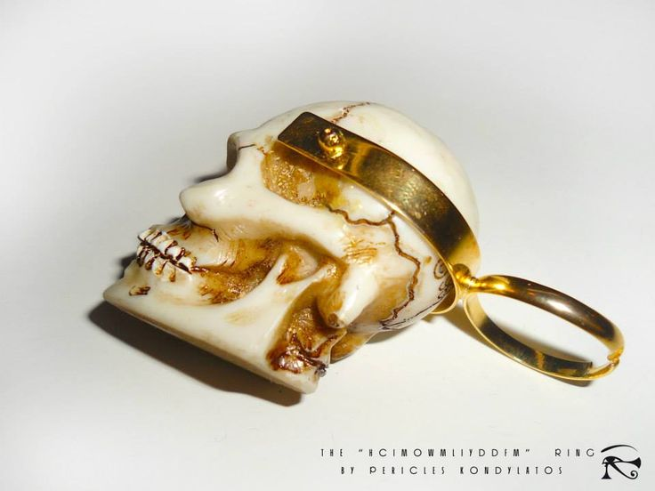"""The """"HCIMOWMLIYDDFM""""  Ring  (How could I move on with my life, if you didn't die for me?) By Pericles Kondylatos Acrylic & Gold  Available to order"""