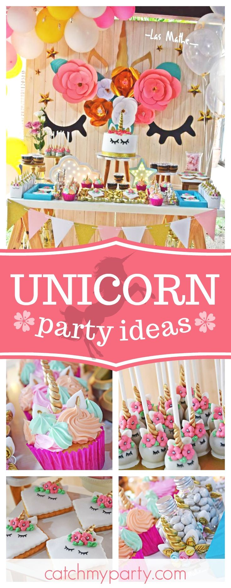 Take a look at this fantastic Unicorn birthday party! The dessert table and backdrop are gorgeous!! See more party ideas and share yours at CatchMyParty.com #unicorn #girlbirthday