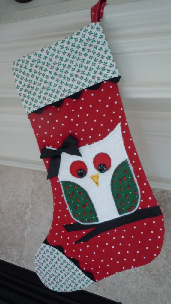 Owl Christmas Stocking in Red/Green/Black Fully Lined by shilohmae, $34.95