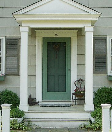Small front stoop - Notice wide white trim around front door.  Can be with/without porch overhang roof.  Use for colonial or cape cod with square columns.