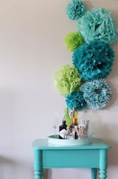 DIY Wall Art Ideas and Do It Yourself Wall Decor for Living Room, Bedroom, Bathroom, Teen Rooms   DIY Tissue Paper Pom Poms Wall Art   Cheap Ideas for Those On A Budget. Paint Awesome Hanging Pictures With These Easy Step By Step Tutorials and Projects   http://diyjoy.com/diy-wall-art-decor-ideas