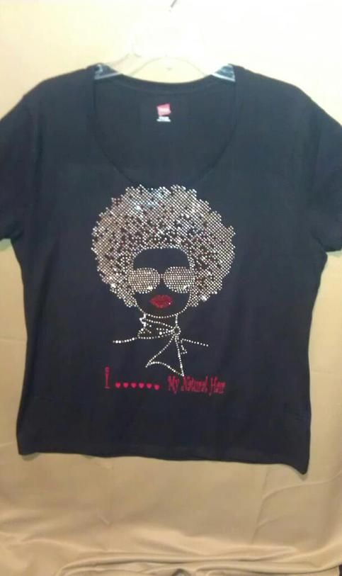 Afro Lady with Silver Rhinestones available in various styles sizes and colors.v
