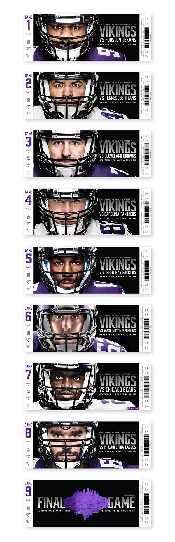 2013 Minnesota Vikings Season Tickets | Celebrating the Final Season at Mall of America Field