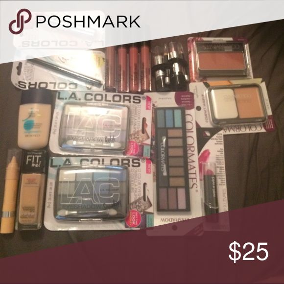 Makeup Bundle! This set is made for people with light skin. It includes 2 foundations, a concealer stick, 3 eyeshadow palettes, 7 lipsticks/lip glosses, 2 lip pencils, an eyeliner, 1 compact makeup, 1 all in one makeup stick, and one blush! Makeup