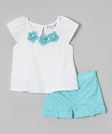 Another great find on #zulily! White Floral Top & Blue Polka Dot Shorts - Toddler & Girls by Speechless #zulilyfinds
