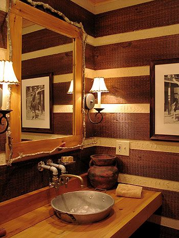 Log Home: Country Cabins, Half Bath, Country Bathroom, Rustic Bathroom, Luxury Houses, Bathroom Ideas, Bathroom Sinks, Logs Home, Interiors Decor