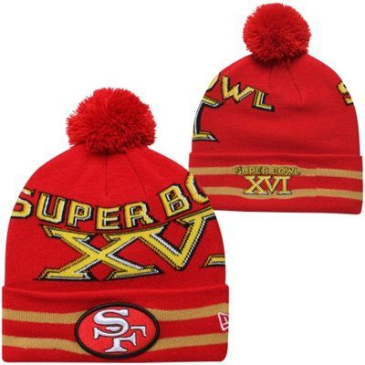 New Era San Francisco 49ers Super Bowl XVI Commemorative Super Wide Point Knit Beanie - Scarlet/Gold