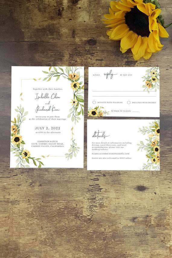 Sunflower Wedding Invitation Template Set Rustic Wedding Etsy In 2021 Sunflower Wedding Invitation Template Sunflower Wedding Invitations Yellow Wedding Invitations