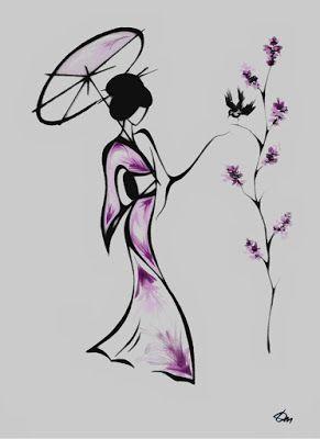On voit une femme qui tient un ombrelle dans sa main gauche. Il y a un arbre devant elle avec des fleurs mauves. Un oiseau noir est posé sur une des branches de l'arbre. Sa robe a des touches de mauve. L'oeuvre est faite avec de l'encre de chine noire et de l'aquarelle mauve. Le style de l'oeuvre rappelle le style des dessins chinois ou japonais. J'aime cette parce qu'elle a le même style qu'une autre culture et qu'elle est simple, j'aime bien les touches délicates de mauve.