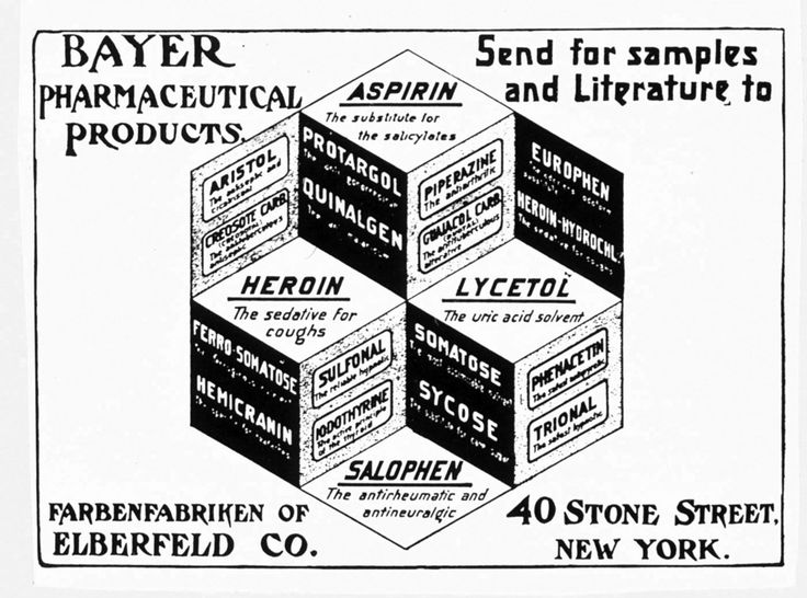 """The invention of heroin -- here portrayed as a """"sedative for coughs"""" comparable to aspirin in thiscirca 1900 advertisement by Bayer -- did not immediately produce outcries from law enforcement andanti-drug crusaders. It was initially a legal and fairly widely prescribed medicine; indeed the very name""""Heroin"""" is in fact a trademark held under copyright by the Bayer Corporation."""