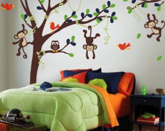 Etiqueta de la pared, árbol alto, vides, monos, lechuza y aves - tatuajes de pared de vinilo bebé vivero