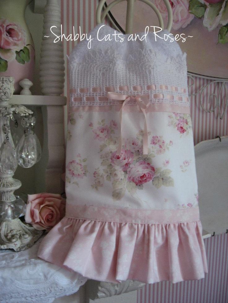 Cottage Pink Rose Bouquet Embellished Display Hand Towel