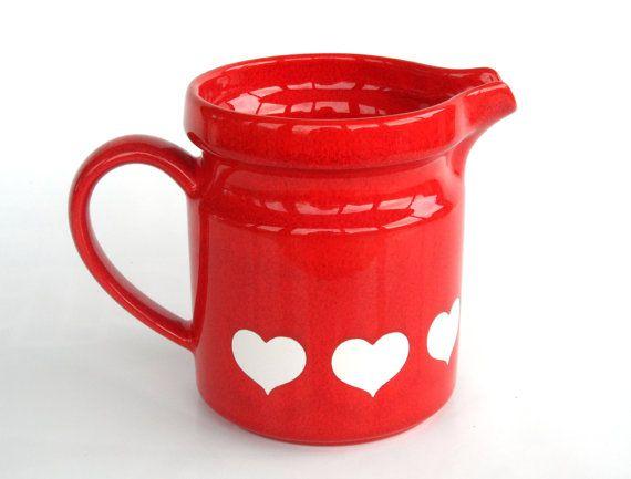 Waechtersbach haerts pitcher milk jug red vase retro by Coollect