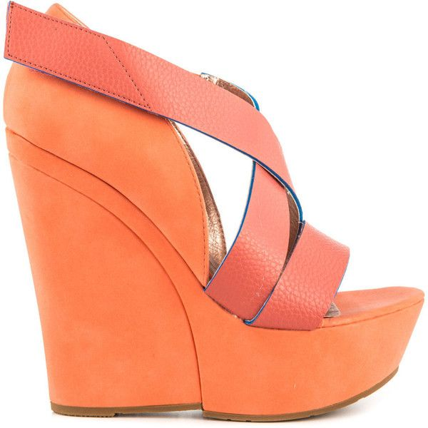 Maker's Women's Winny - Coral ($35) ❤ liked on Polyvore featuring shoes, sandals, footwear, heels, orange, platform wedge sandals, platform sandals, coral wedge sandals, orange wedge sandals and strappy platform sandals