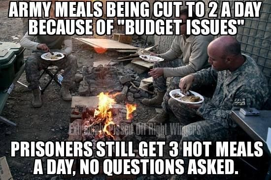 """Military services cut the meals of our troops from three (3) per day to two (2) per day. the reason cited is """"military budget issues"""". The true reason is that the administration wants our troops to have """"less of a fighting chance"""" and for as many of our soldiers as possible to die. They don't want them coming back home and defending the Country from the communist regime."""