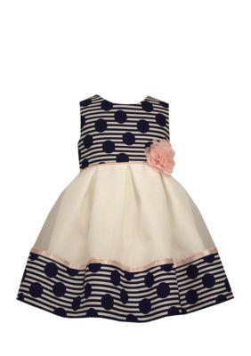 Bonnie Jean Navy Polka Dot Empire Waist Dress
