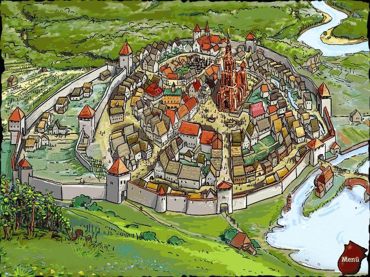 Praatplaat middeleeuwse stad