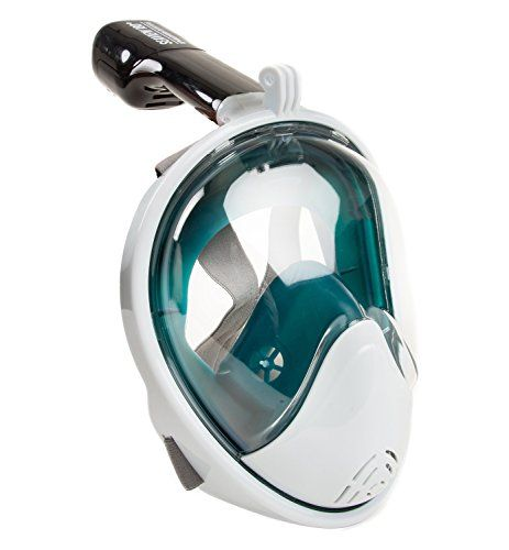 Seaview 180° Full Face Snorkel Mask Set. Huge Round Fishbowl Lens Available. Take Your Snorkel Gear to the Next Level. Breath Easy and Naturally with No Mouth Tubes. Gopro Mount Included. WildHorn Outfitters