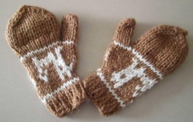 Kinder 1-4 Jahre #Fäustlinge, #Handschuhe aus naturbelassener #Alpakawolle, Hellbraun