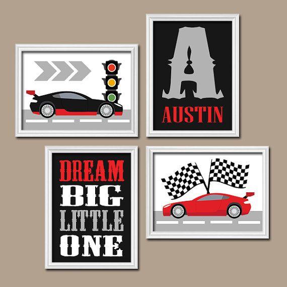 RACE CAR Wall Art, Big Boy Room Decor Canvas Or Prints