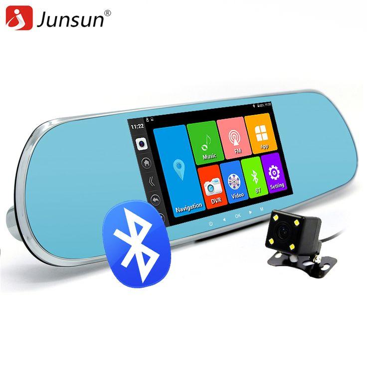 "Junsun 5 ""mobil DVR Kamera cermin Android 4.4 Bluetooth Cermin Spion Video Recorder Dual Lens Dvr FHD 1080 P GPS navigasi"