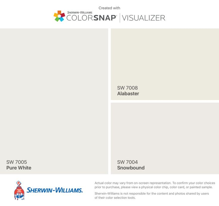 I found these colors with ColorSnap® Visualizer for iPhone by Sherwin-Williams: Pure White (SW 7005), Alabaster (SW 7008), Snowbound (SW 7004).