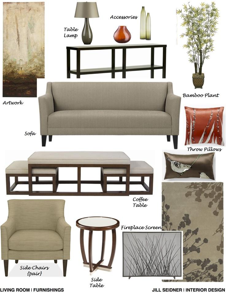 Belmont Shores, CA Residence Living Room Furnishings Concept Board. www.JSInteriorDes.Blogspot.com
