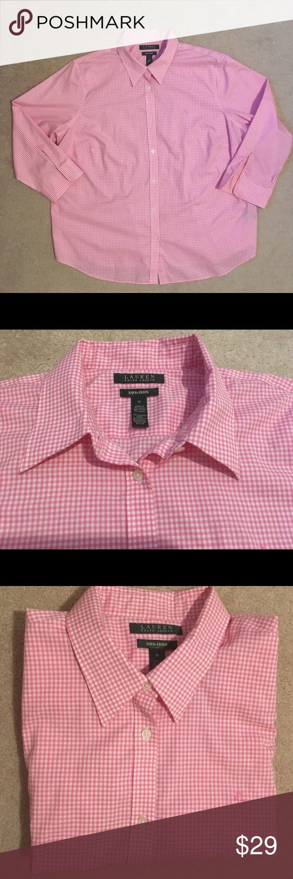 """LAUREN RALPH LAUREN PINK NON IRON SHIRT SIZE M,1X LRL classic pink/white plaid non iron 100% cotton button down with 3/4 sleeves shirt is perfect for work, weekends, dinners, parties. classic snd classy! Shoulders-16"""";chest-21.5"""";length-26""""; Lauren Ralph Lauren Tops Button Down Shirts"""