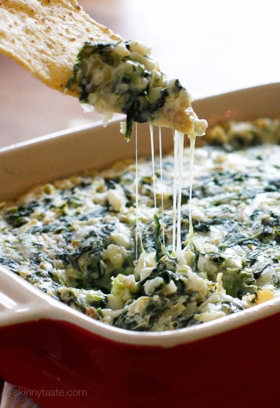 Hot Spinach and Artichoke Dip – make ahead then bake when you're ready to serve, no one will know it's light! Weight Watchers Smart Points: 2 Calories: 73