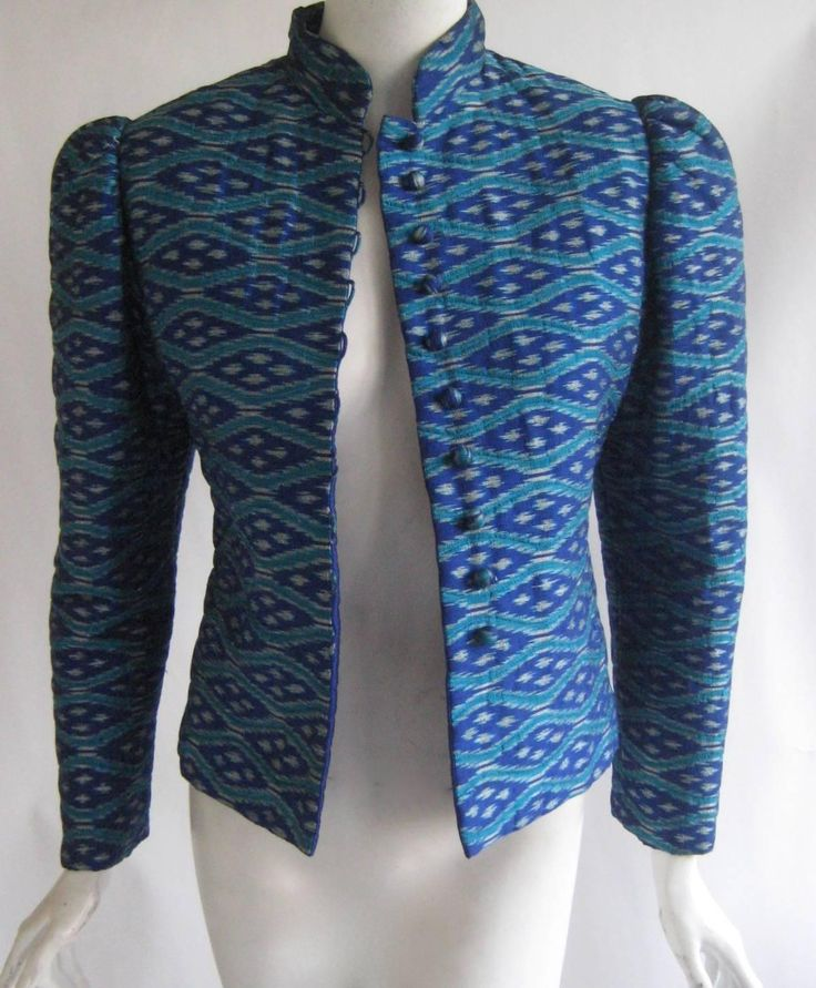 1960s Pierre Balmain Boutique Thai Silk Ikat Print Jacket | From a collection of rare vintage jackets at https://www.1stdibs.com/fashion/clothing/jackets/
