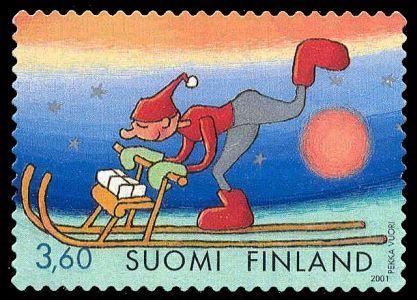 Joulupostimerkki 2001 2/2 - Tonttu ja potkukelkka
