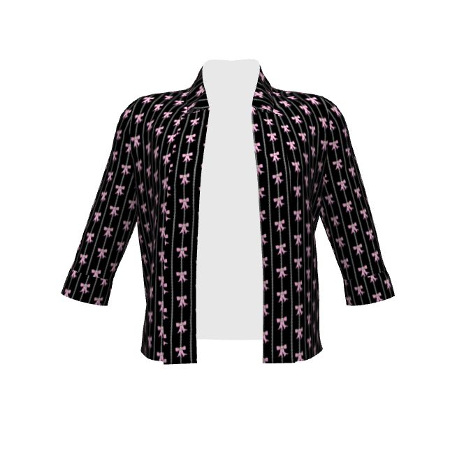 Novelty black jacket with chain stripes and pink skull bows!  (By Hand London Victoria Blazer made with Spoonflower designs on Sprout Patterns. Vertical rows of chains with pink skull bows; skull bow is a hand drawn, digitally painted work repeated for this fabric by artist Tara Crowley) #fashion #jacket