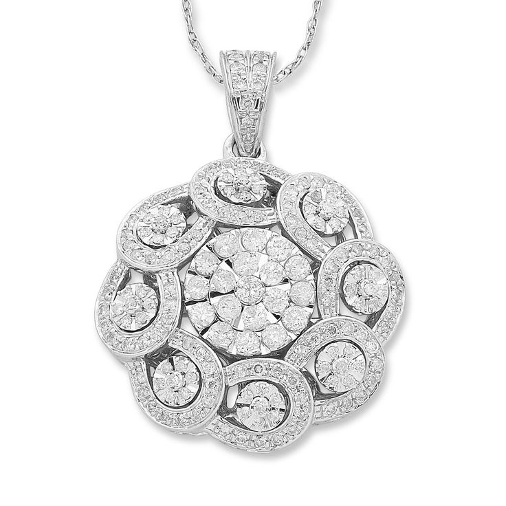 9ct White Gold 1.41ct Diamond Necklace  - 9ct White GoldNecklace1.41ct DiamondsBrilliant clawBrilliant grain set horseshoeBrilliant claw flowerBrilliant grain bail