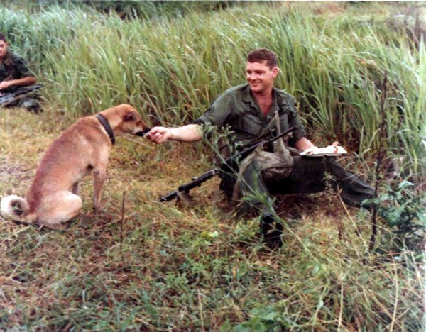 SP/4 Ron Dillon, rifleman, B Co, 2nd Bn, 8th Cav, 1st Air Cav Div, shares his turkey dinner in the field with a dog who had wandered in for the occasion. 10 Nov 1967.