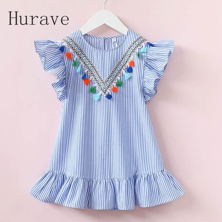 Hurave girls dress girl clothing tassel dress for girl striped robe fille ruffles kids clothing beautiful blue vestidos-in Dresses from Mother & Kids on Aliexpress.com | Alibaba Group