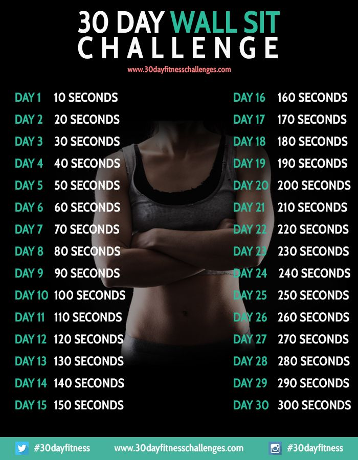 30 Day Wall Sit Challenge Fitness Workout - 30 Day Fitness Challenges