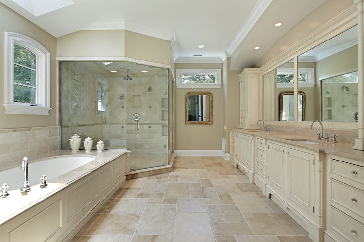 #neutralcolors #spacious #doublesink - huge separate shower and bathtub #bathroomdesign #bathroom remodel