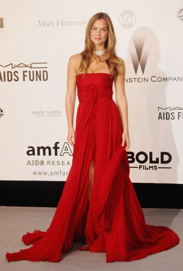 Bar Rafaeli in a stunning red dress