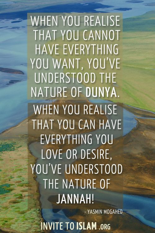 invitetoislam:    When you realise that you cannot have everything you want, you've understood the nature of dunya. When you realise that you can have everything you love or desire, you've understood the nature of Jannah!  - Yasmin Mogahed