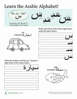 "Arabic is challenging, but kids love writing Arabic letters! This worksheet gives kids practice with the letter ""Sīn,"" pronounced a lot like the English ""s."""