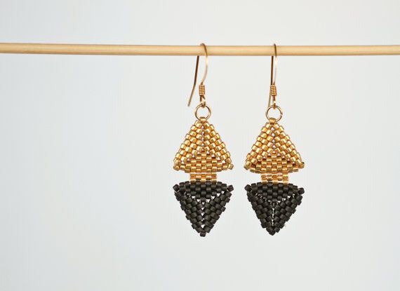 Handmade jewelry, etsy shop, small business, shop handmade, love handmade, earrings, handmade earrings, handmade in nz, handmade jewellery, gold earrings, black earrings, gold and black earrings, triangle