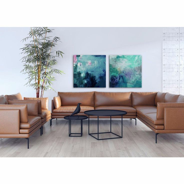 Bring a splash of colour to your living room, bedroom or office with this striking pair of paintings.
